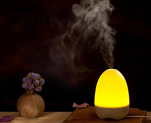 Allnice® 180ml Egg Shape One Key Operation Ultra-quiet Ultrasonic Aroma Diffuser Air Humidifier Purifier Essential Oil Diffuser Night Light Lamp with Warm Light for Home Office Use