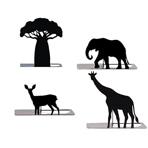 Jungle 4pcs Animal Bookends Art Bookend(Giraffe, Female Deer, Elephant, Baobab Tree) by Jungle