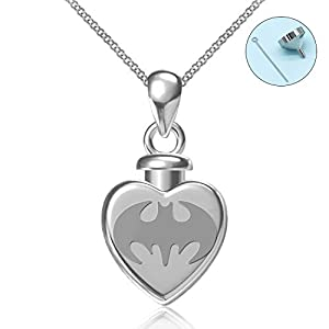 BEILIN 925 Sterling Silver Heart Cremation Necklace Forever in My Heart Keepsake Memorial Bat Urn Necklace for Ashes