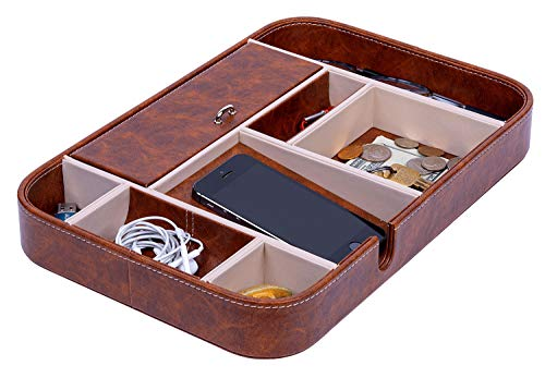 Makuzo Nightstand Organizer and Valet Tray for Men and Women - Charging Station with 8 Compartments and Privacy Lid for Office, Kitchen Dresser and Bedroom