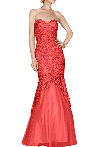 Promkleider Lang Damen Partykleider Charmant Spitze Elegant Royal Rot Blau Meerjungfrau Abendkleider 1xzS0x