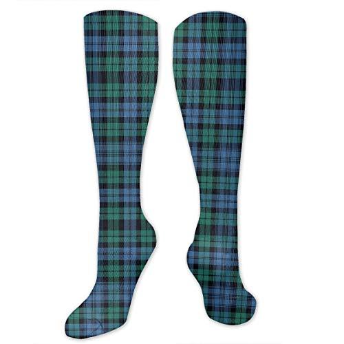 Yitlon8 Black Watch Tartan, Ancient Compression Socks for Women & Men - Best for Running, Athletic Sports, Crossfit, Flight Travel -Maternity Pregnancy, Shin Splints - Below Knee High