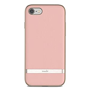 Moshi Vesta for iPhone 8 / 7 - Protective Fabric Case, Military-grade drop tested, resists dirt and scratches,Wireless charging - Blossom Pink