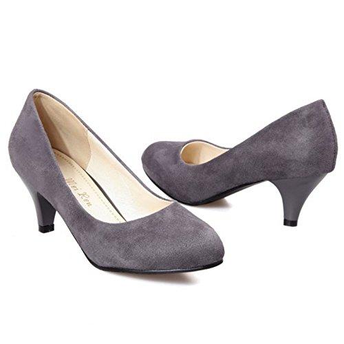 Soiree Enfiler Escarpin Escarpins Femme Gris COOLCEPT Mode Bas Chaussures A Talon tqzxFOw