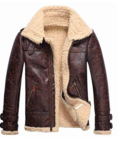 (Vintage Mens Leather Lambs Fur Fleece Bomber Flight Winter Coats Jacket 2018 (Large, Brown))