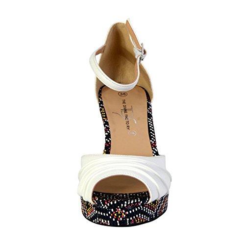 Sandalias Compensada Femme La Divina Fábrica TDF2910 Blanco Blanc