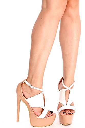 LOLLI COUTURE PU OPEN TOE MULTI CUTOUT DESIGN ANKLE STRAP BUCKLE STILETTO HIGH HEELS SHOES White bolZ8