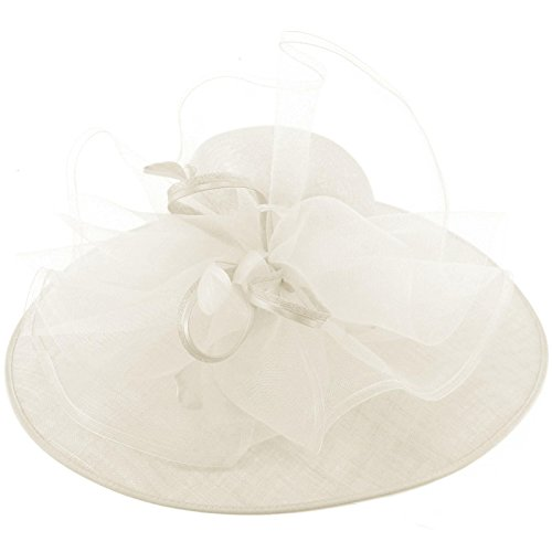 Queen Of The Ball Sinamy Floral Spray Feathers Derby Floppy Dress Wide Hat White by Something Special