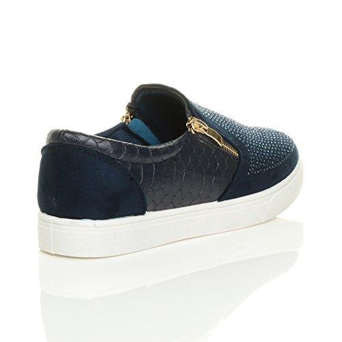 Ajvani Womens Ladies Flat Gold zips Croc Slip on Plimsoles Trainers Skate Shoes Size Navy Blue Gem YNaLk
