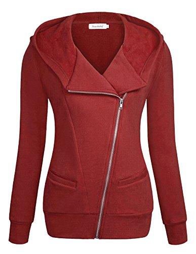 Women Jacket,Ninedaily Sleeves Oblique Zipper Pocket Sweater Sweater Red 2XL by Ninedaily