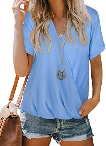NSQTBA Womens V Neck Wrap Tops Short Sleeve Summer Blouses Loose Casual Shirts