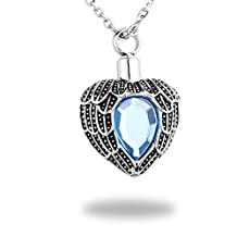 HooAMI Angel Wing Birthstone Memorial Urn Pendant Necklace Stainless Steel Cremation Jewelry