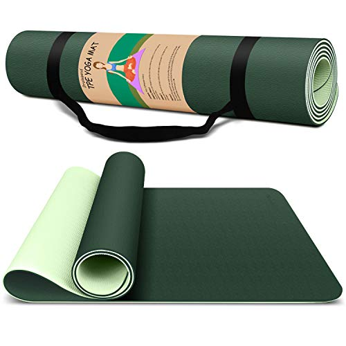 Yoga Mat Exercise Fitness Mat - High Density Non-Slip Workout Ma for Yoga, Pilates & Exercises, Anti - Tear, Sweat - Proof, Classic 1/4 Inch