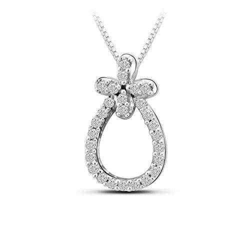 Or Blanc 14 ct Pendentifs Diamant en forme de poire, 0.1 Ct Diamant, GH-SI, 0.42 grammes.