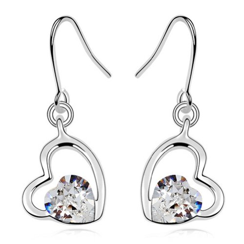 Brass 18k Gold Electroplated (Latigerf Double Heart Earring White Gold Plated Swarovski Elements Crystal)