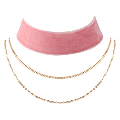 JANE STONE Vintage Pink Velvet Choker Necklace Women 90s Tattoo Gothic Multi Layered Jewelry Set(Fn2041-Thick Pink) -