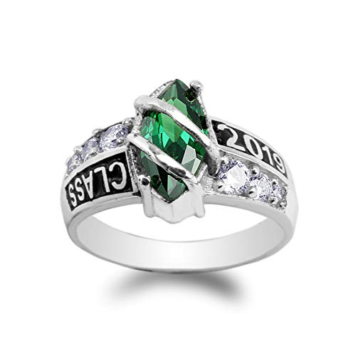 925 Sterling Silver Class of 2019 1.25ct Green Marquise CZ School Graduation Ring Size 9