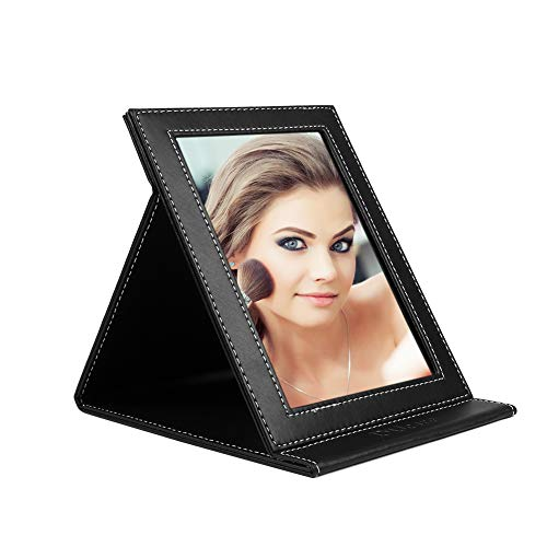 DUcare Makeup Desk Mirror Adjustable Portable Vanity Mirror Folding Lightweight Slim Cosmetic with PU Leather Stand For Travel Camping Cosmetics Beauty(Large&Black) ()