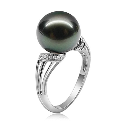 AmDxD Jewelry Silver Plated Women Promise Customizable Rings Pearl CZ Size 6.5 by AMDXD