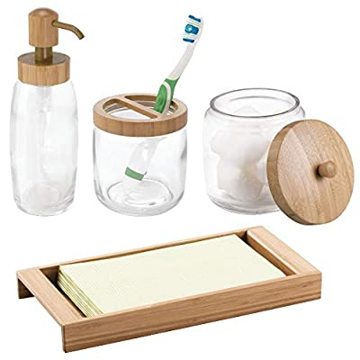 mDesign Glass Soap Dispenser Pump, Canister Jar for Cotton Balls/Swabs, Cosmetic Organizer Tray, Toothbrush Holder - Set of 4, Clear/Natural Bamboo - 4 PIECE SET: Includes 1 glass canister jar with wide lid that stores needed vanity staples and provides a decorative accent to your powder room, bathroom vanity, makeup table and more; 1 toothbrush holder that can store up to four toothbrushes; 1 refillable soap pump dispenser that holds up to 12 ounces of soap; 1 vanity tray with raised tray sides keep items contained; Pack of 4 STORAGE MADE STYLISH: This vintage-inspired classic canister stores needed vanity staples and provides a decorative accent to your powder room, bathroom vanity, makeup table and more; The toothbrush holder fits perfectly on bathroom vanities and countertops; The reusable and refillable dispenser pump holds soap, dish soap, hand sanitizer or essential oils in a stylish and fashionable container; This tray is the perfect stylish solution to keep small items organized and easy to find FUNCTIONAL & VERSATILE: This space saving bathroom set provides plenty of room for storing a multitude of essentials; Organize your hair ties, clips, elastic bands bobby pins, bows and more; Keep all your family's toothbrushes in one convenient spot with this four spot brush holder; The tray also makes a great multi-purpose drop tray for entryways, hallways, mudrooms and more; Perfect for closet, bedroom, and nightstands; Great for apartments, condos, dorm rooms, RVs and campers - bathroom-accessory-sets, bathroom-accessories, bathroom - 41RFl%2BIlwbL. SS400  -