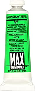 Grumbacher Max Water Miscible Oil Paint, 37ml/1.25 oz, Permanent Bright Green
