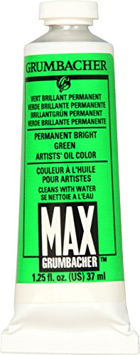 Grumbacher Max Water Miscible Oil Paint, 37ml/1.25 oz, Permanent Bright - Max Grumbacher Water