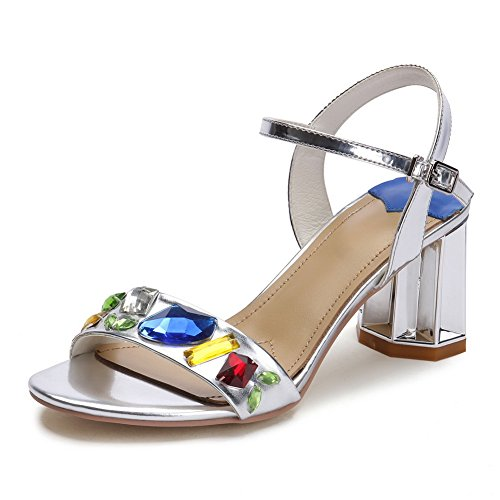 1TO9 Ladies Rhinestones Crystal Heels Heels Heels Ankle Cuff Silver Cow Leather Sandals - 5.5 B(M) US B072ZBLB5K Parent ff94ad