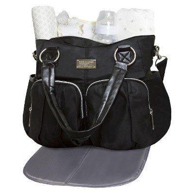 Wendy Bellissimo Shirred Pocket Tote Diaper Bag - Black