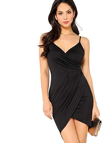 Verdusa Women's Crisscross Backless Wrap V Neck Overlap Bodycon Party Dress Black - Dress Cami V-neck