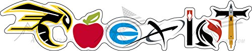 Designer Laminate (2 Pack Archery COEXIST Decal Bumper Sticker UV Fade Resistant and Water Resistant Die Cut Laminate Sold by Original Designer & Seller 'Ants Korner'See Breakdown Within)