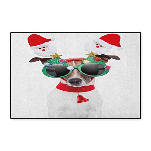 Christmas,Door Mats for Inside,Funny Puppy Jack Russel Dog with Hilarious Sunglasses Santa Figures and Bell,3D Digital Printing Mat,Multicolor,Size,20
