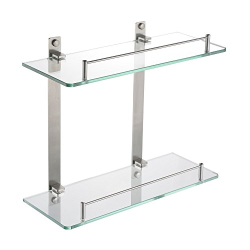 KES Bathroom Lavatory Double Glass Shelf Wall Mount, Brushed