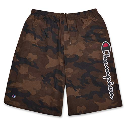 Champion Mens Big and Tall Lightweight Cotton Jersey Shorts with Script Logo CAMO 1X ()
