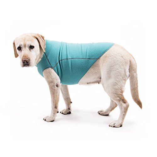 - My Canine Kids Fleece Dog Sweater Best Dog Fleece Pullover Stretch Sweater for Dogs Jumper Cozy Warm Cold Weather (MED Turquoise Blue up to 30 LBS)