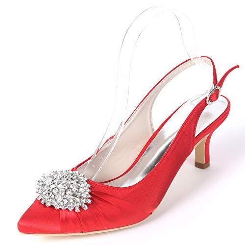 L Fy160 Red Buckle Boda Zapatos Platform Blanco Altos Satin yc De 6cm Mujeres Tacones Las Rhinestones 6Zxq6TrBwP