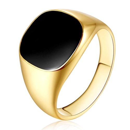 Napoo Men Vintage Solid Polished Copper Band Signet Ring (Gold, 7)