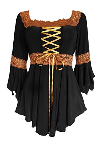 (Dare to Wear Renaissance Corset Top: Victorian Gothic Boho Plus Size Women's Peasant Blouse for Everyday Halloween Cosplay Festivals, Black/Gold 1x)