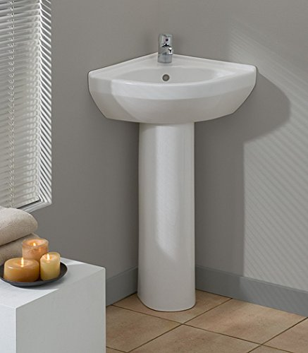 Cheviot Products Inc. 944-WH-1 Petite Corner Pedestal Sink, White by Cheviot Products Inc.