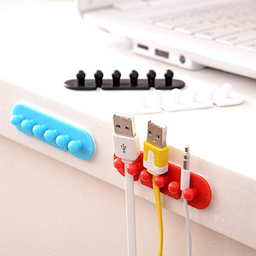 Iuhan 2PC Wire Cord Clip Cable Line Holder Tie Fixer Organizer Drop Adhesive Clamp ( Color Random )