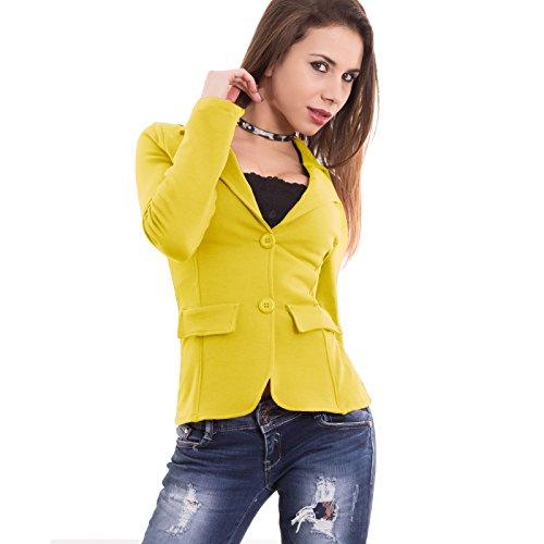 lunghe maniche avvitata donna 1113 Giallo CC felpata S cotone Bordeaux Giacca bottoni nuova qItw1U1