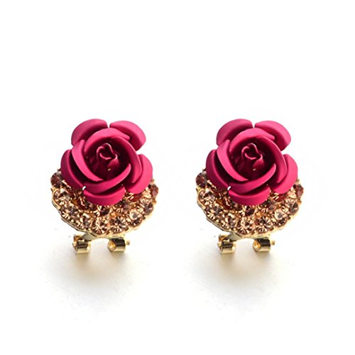 Women Lady Rose Ear Stud Flower Rhinestone Earrings Women Jewelry Earrings Stud Hemlock (Hot (Flowers Rope Earrings)