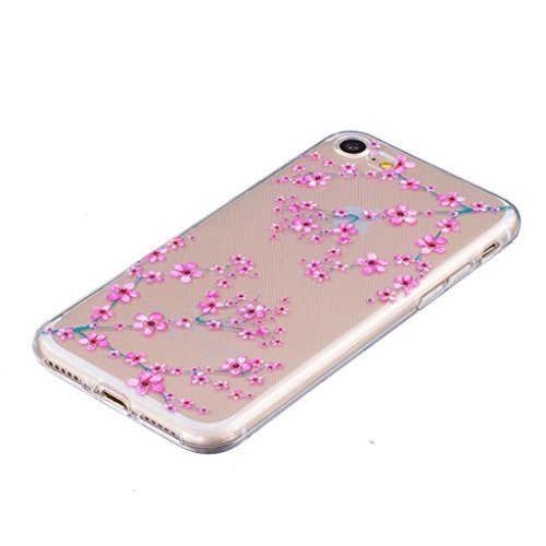 ZXLZKQ Coque pour iPhone 7 (2016) Etui Ultra-mince Transparent Plum fleur Roses Doux TPU Silicone Case Housse Coque pour iPhone 7 (2016) (non applicable iPhone 7 Plus 2016)