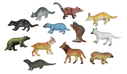 Curious Minds Busy Bags Miniature Animal Assortment with White Wolf Figurines Replicas - Mini Action Figures Replicas - Miniature Animal Playset