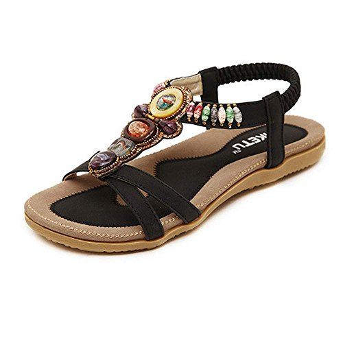 - 【MOHOLL】 Summer Flat Gladiator Sandals for Women Comfortable Casual Beach Shoes Platform Bohemian Beaded Flip Flops Sandals Black