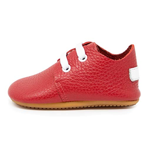 Ella Bonna Baby Girl Oxford Shoes, Cowhide, Full Grain Leather Sole, Flexible, Handmade Designer Moccasins for Boys Infants, Toddlers (US 7 M, Red N)