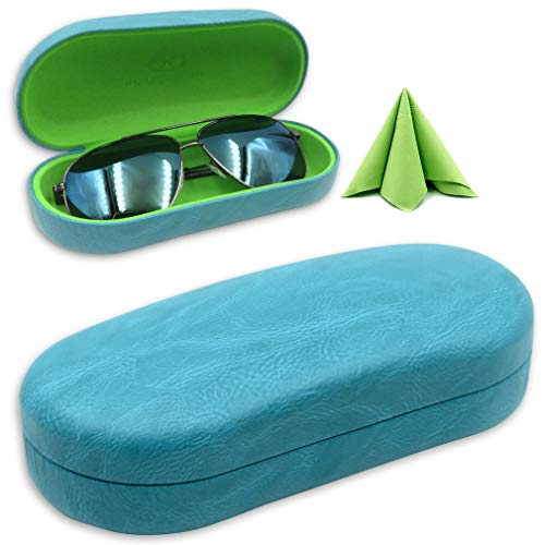 Women Hard Eyeglass Men Hard Sunglasses Case with Microfiber Cleaning Cloth | Protects Glasses w/Large & Extra Large Frames | Clam-shell (AS87 Teal With Cloth) -