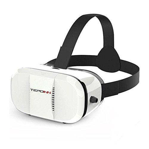 Tepoinn Google Cardboard-3D Brille-VR Brille-Virtual Reality Headset-3D VR Brille für 3D Filme und Spiele, Kompatibel mit 4.5 ~ 6 Zoll Smartphones, iPhone 6 6s, Samsung Note 5, S6 Edge Plus