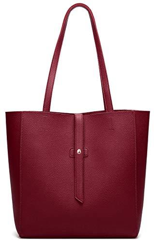 Dreubea Women's Large Tote Shoulder Handbag Soft Leather Satchel Bag Hobo Purse, Dark Red