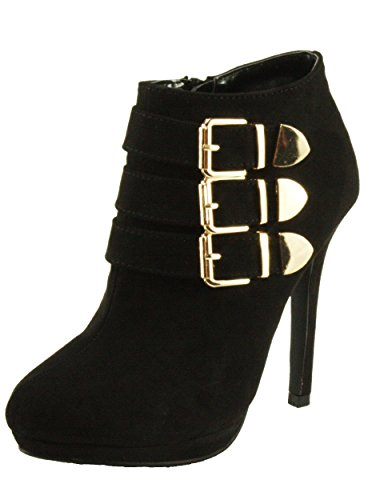 High 78 High Almond Faux Ankle Forever Suede Heel Mabel Dress Platform Toe Women's Booties Black qxTx4Ewz