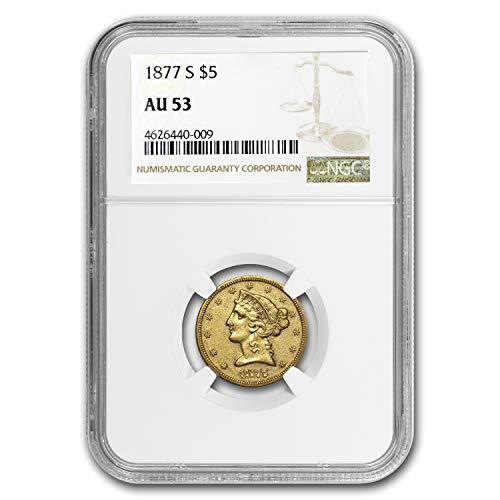 1877 S $5 Liberty Gold Half Eagle AU-53 NGC G$5 AU-53 NGC